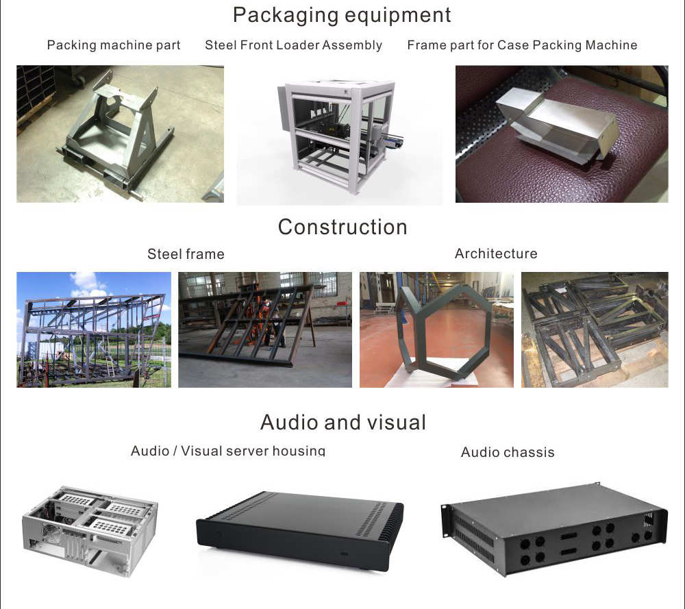 Sheet metal fabrication packing machine frame fabrication